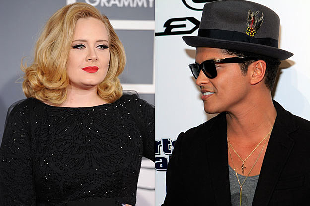 Adele and Bruno Mars