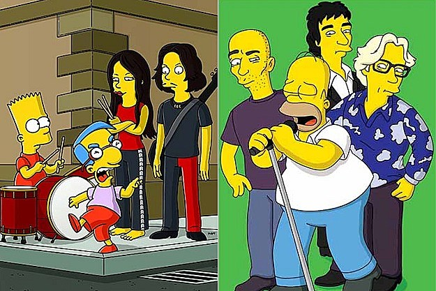 The White Stripes with Bart and Milhouse, R.E.M. with Homer