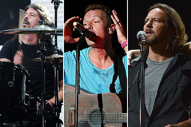 Dave Grohl, Chris Martin, and Eddie Vedder